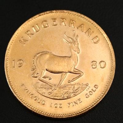 1980 South Africa Krugerrand 1oz Gold Bullion Coin