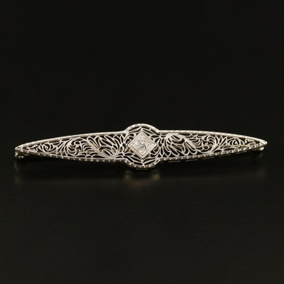 Art Deco Brod & Company 18K and Platinum Diamond Filigree Bar Brooch