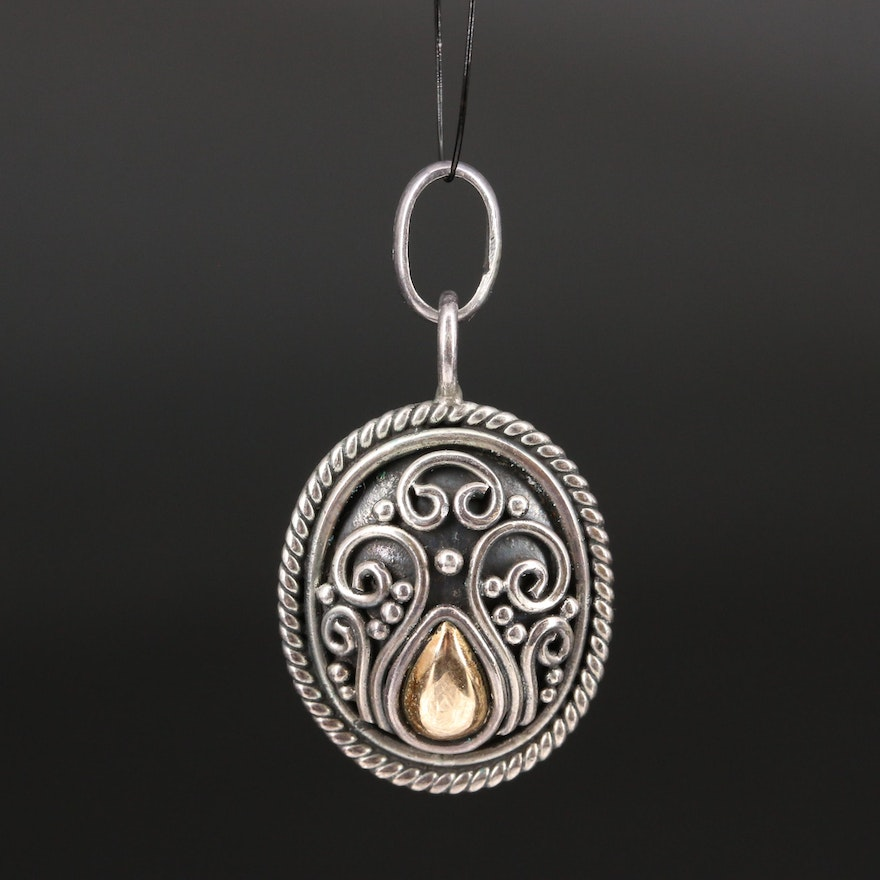 Bali Style Sterling Silver Pendant with 18K Accents