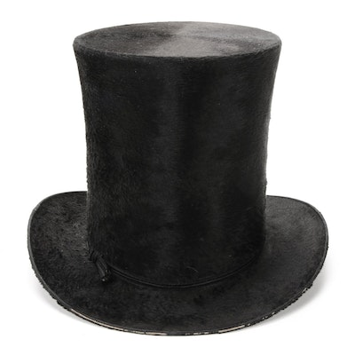 Juste Pinaud Beaver Felted Top Hat with Handmade Paper Hat Bucket, 19th Century