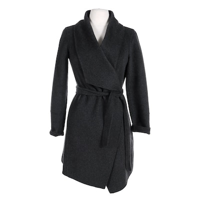 Neiman Marcus Cashmere Belted Open-Front Jacket