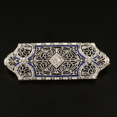 Edwardian 14K and Platinum Diamond Filigree Brooch with Enamel Accents