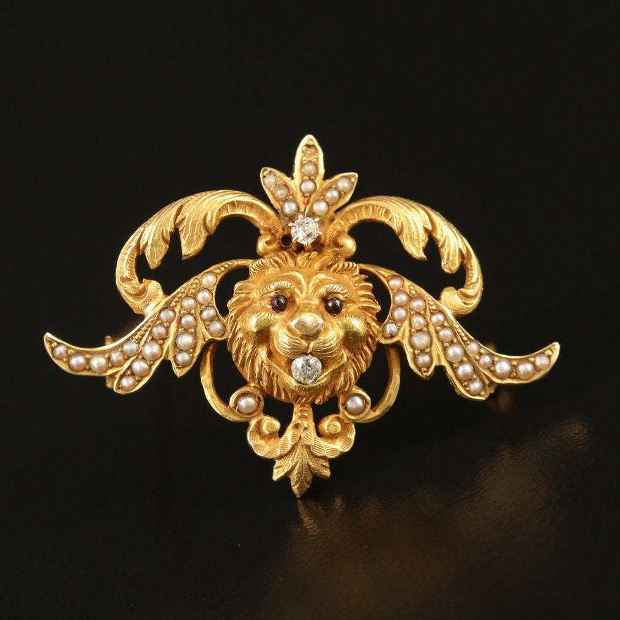 Art Nouveau 18K Diamond and Pearl Lion Head Converter Brooch with Watch Hook