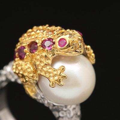 Sterling Pearl, Ruby, Garnet and Sapphire Frog Ring