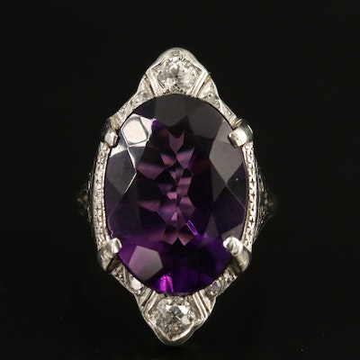 Edwardian Platinum 9.02 CT Amethyst and Diamond Ring