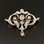 Belle Époque 18K Diamond Brooch with Platinum Top