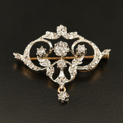 Belle Époque 18K Diamond Brooch with Platinum Top