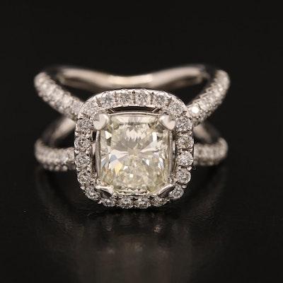 14K 3.62 CTW Diamond Ring with Crossover Design
