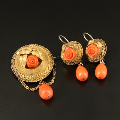 Mid-Victorian 14K Carved Coral Jewelry Set with Twisted Wire Work