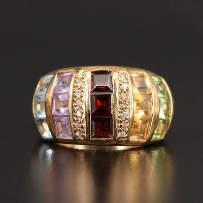 Sterling Amethyst , Topaz and Citrine Multi-Row Ring
