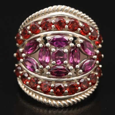 Sterling Garnet Tapered Ring