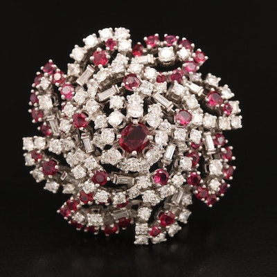 Platinum Ruby and 6.23 CTW Diamond Converter Fur Clip