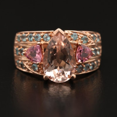 10K Morganite, Tourmaline and Emerald Ring