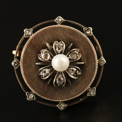 French 19th Century Second Empire Antique 18K Pearl and Diamond Circle Brooch
