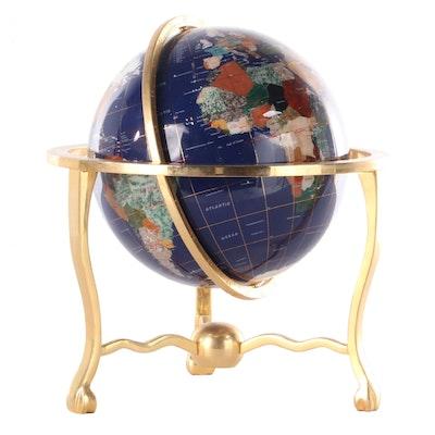 Gemstone Inlaid Resin Desk Globe