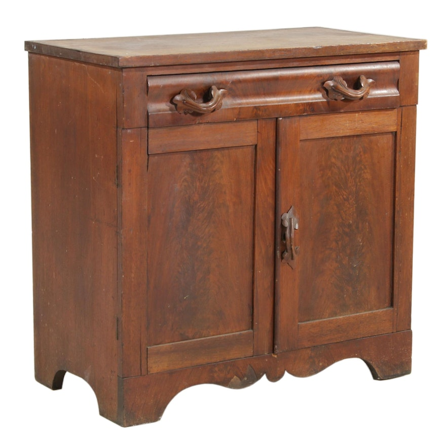 Walnut Cabinet with Carved Pulls, Early 20th Century