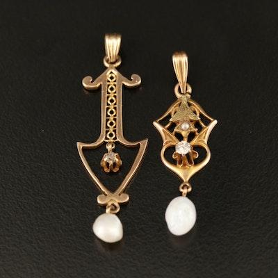 Art Nouveau 10K Lavalier Pendants With Diamond and Pearl Accents