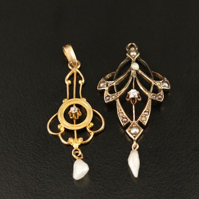 Art Nouveau 10K Diamond and Pearl Lavalier Pendants