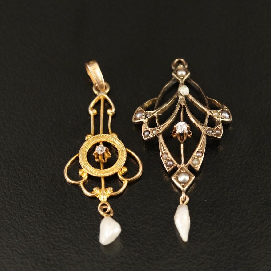 Art Nouveau 10K Diamond and Pearl Lavalier Pendants