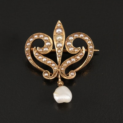 Art Nouveau 14K Semi-Baroque Pearl and Seed Pearl Brooch