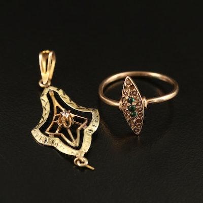 Art Nouveau 10K Pendant and Victorian 10K Ring
