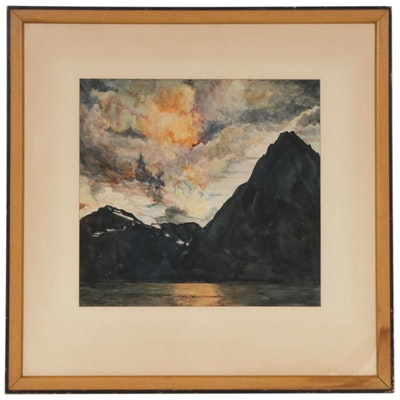 C. H. Kelley Watercolor Painting of Mountain Lake at Sunset, 1947