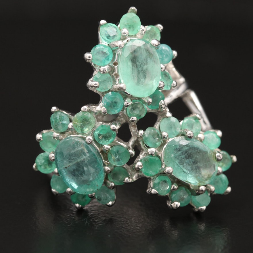 Sterling Silver and Emerald Floral Motif Cluster Ring