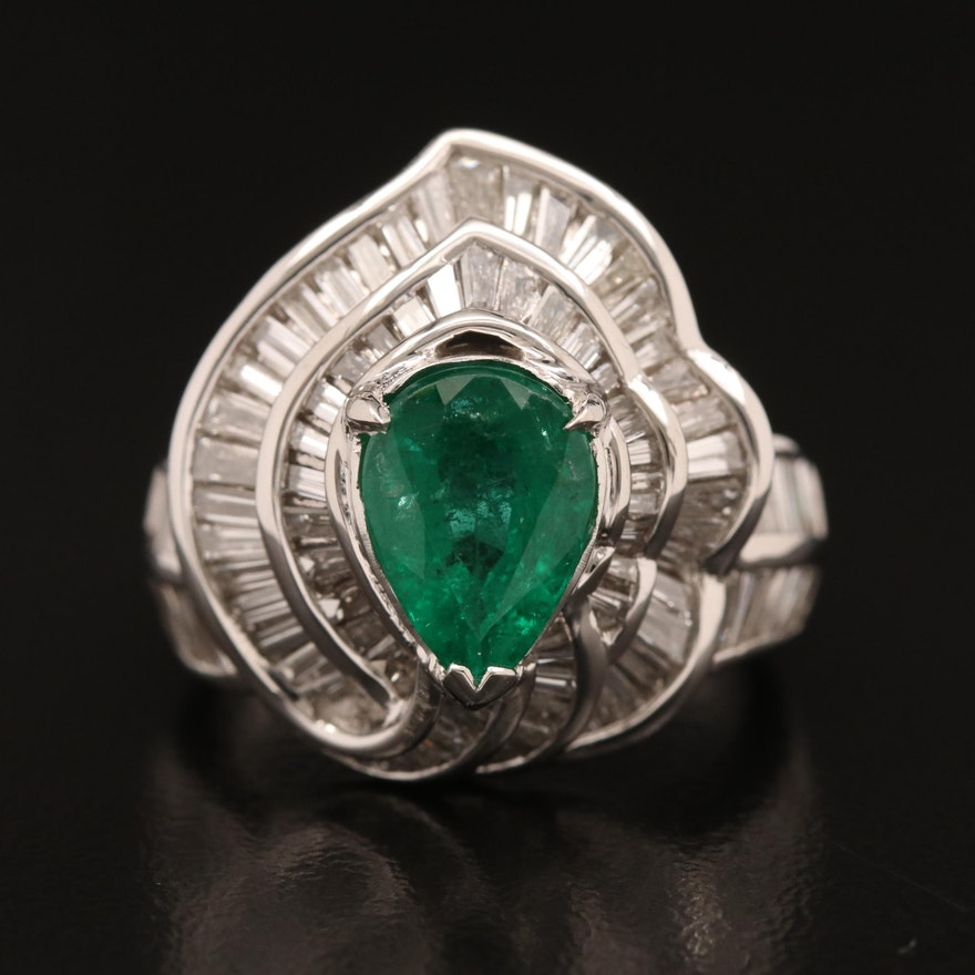 Platinum 2.29 CT Emerald and 1.95 CTW Diamond Ring with GIA Certification