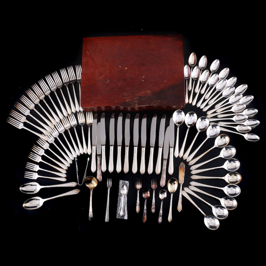 "Wm. Rogers ""Starlight"" and Other Silver Plate Flatware with Chest, Mid-20th C."