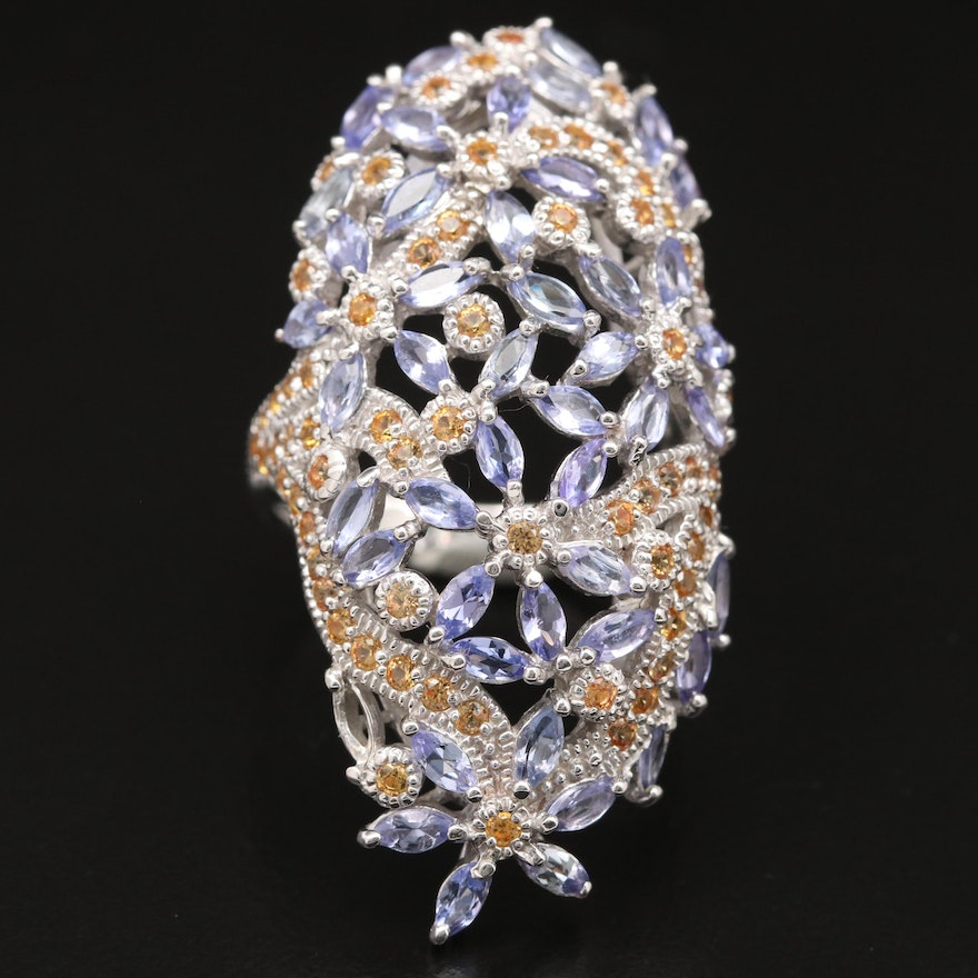 Sterling Silver Tanzanite and Sapphire Floral Pointer Ring