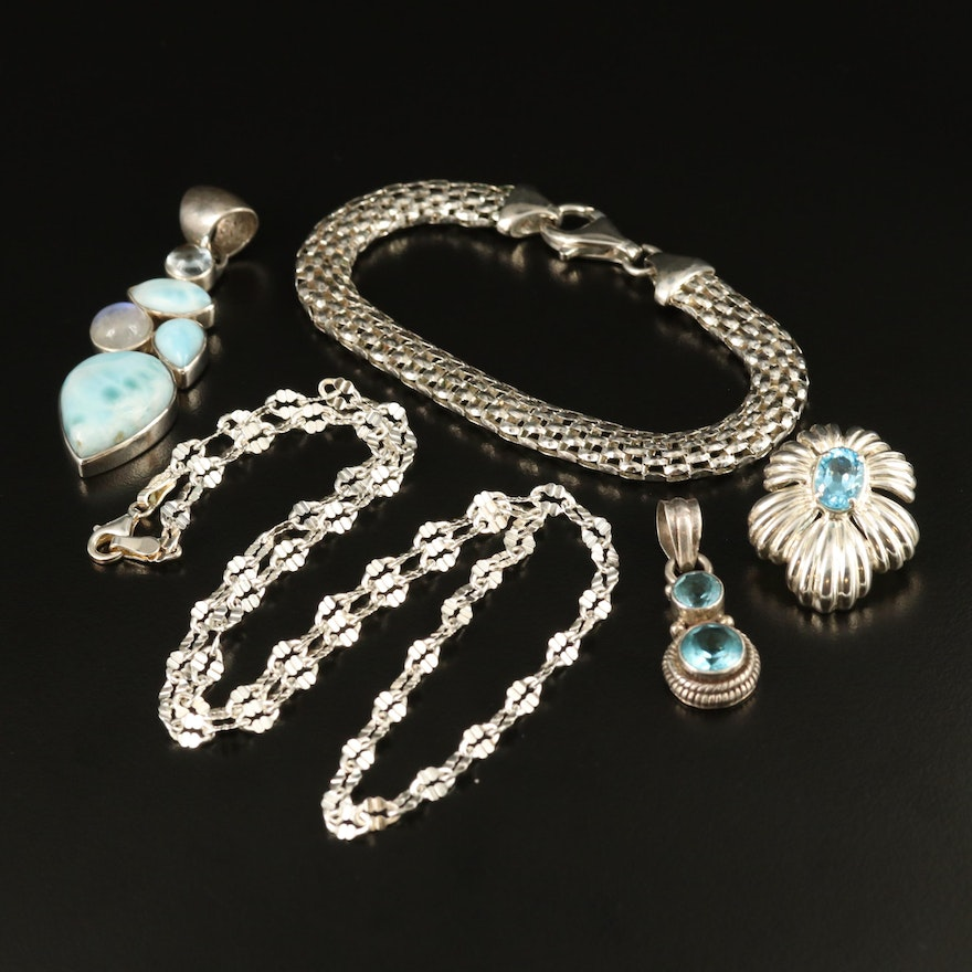 Sterling Silver Jewelry Featuring Moonstone, Topaz and Larimar