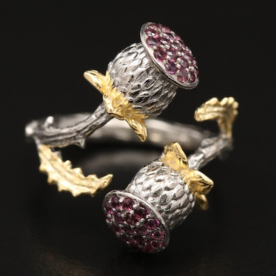 Sterling Silver Thistle Motif Bypass Ring with Garnets