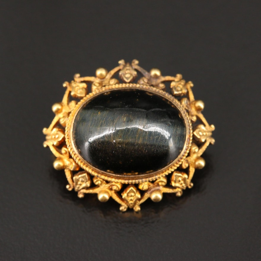 Circa 1900 Krementz 14K Tiger's Eye Brooch