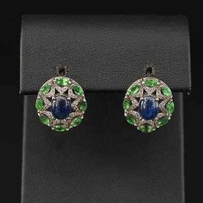 Sterling Tanzanite, Diopside and Cubic Zirconia Drop Earrings