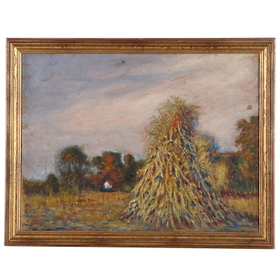 Impressionist Landscape Oil Painting, Early 20th Century