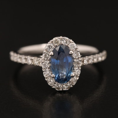 18K Sapphire and Diamond Halo Ring