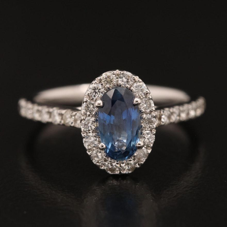 18K Sapphire and Diamond Halo Ring