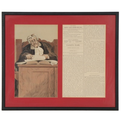"Leslie Ward Chromolithograph ""Contempt of Court"" for ""Vanity Fair"", 1873"