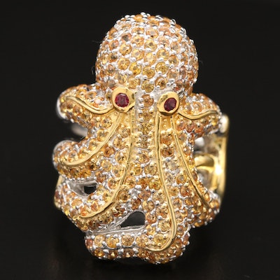 Sterling Silver Sapphire and Garnet Octopus Ring