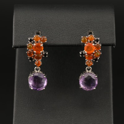 Sterling Amethyst, Opal and Cubic Zirconia Drop Earrings
