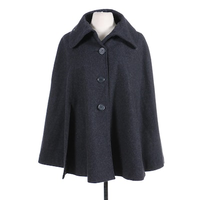 Saks Fifth Avenue Charcoal Grey Wool Blend Cape