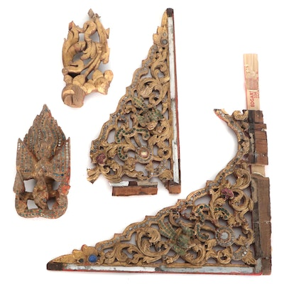 Thai Ornament Giltwood Architectural Fragment, 20th Century