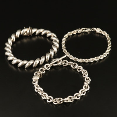Sterling Silver Rope, San Marco and Cable Link Bracelets