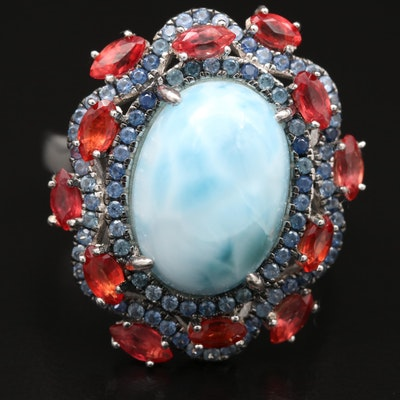 Sterling Larimar and Sapphire Ring