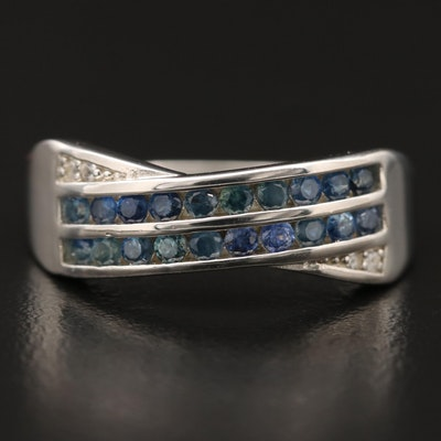 Sterling Sapphire and White Sapphire Crossover Band