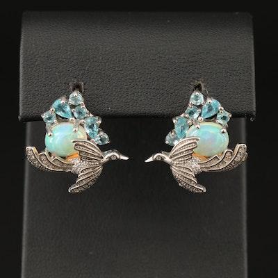 Sterling Opal, Apatite and Cubic Zirconia Bird In Flight Earrings