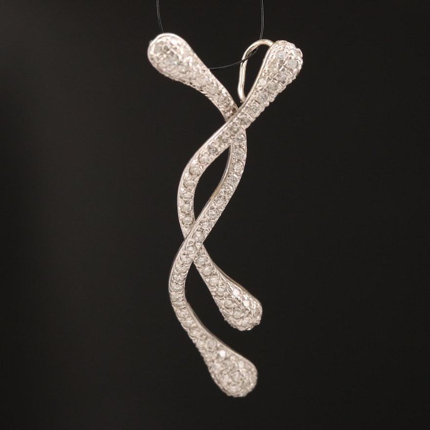 14K 1.00 CTW Diamond Intertwined Drops Pendant