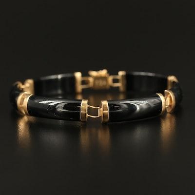 """14K Black Onyx """"Good Fortune"""" Bar Link Bracelet"""