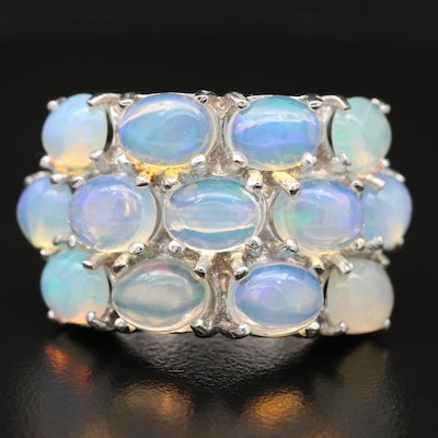 Sterling Silver Opal Three Row Ring