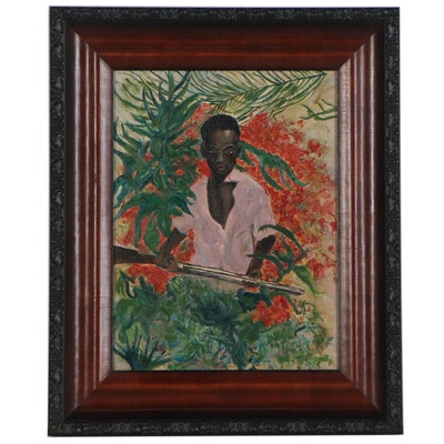 Oil Portrait of Hunter, Late 20th Century